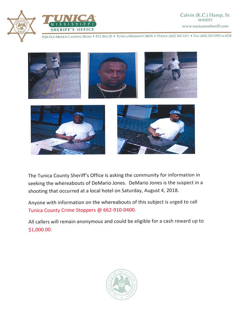 Flyer asking to call the CrimeStoppers for information about DeMario Jones